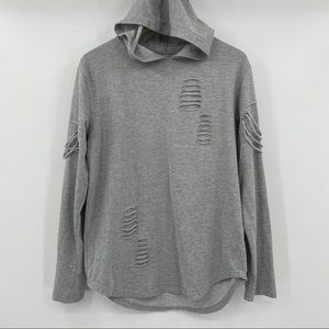 ⚡️CARBON Long Sleeve Distressed Hooded Top